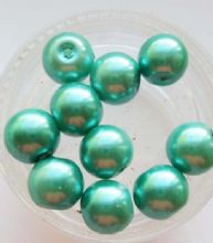 Pearl Glass 8mm Beads. Teal Green x 10